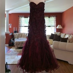 Couture merlot Prom Dress with crystals